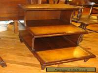 Beautiful Vintage Table w/ Leather Top 3 step mahogany