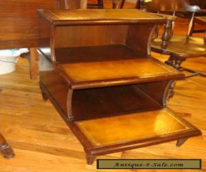 Beautiful Vintage Table w/ Leather Top 3 step mahogany  for Sale