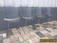 4 Knoll Bertoia Wire Metal Chairs Chrome Mid-Century Modern