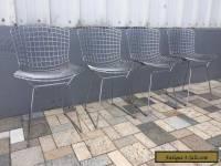 4 Knoll Bertoia Wire Metal Chairs Chrome Mid-Century Modern