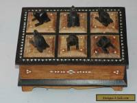 VINTAGE CARVED/INLAID BOX,6 COMPARTMENTS WITH FIGURES.