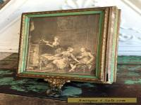 Antique Victorian Picture Wood Dresser Jewelry Vanity box with handled Mirror