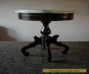 Gorgeous Antique Wood Pedestal Side Table With Marble Top & Storage - Italy. for Sale
