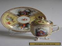 Helena Wolfsohn Dresden Porcelain CHOCOLATE Cup Lid and Saucer WATTEAU 19c AS IS