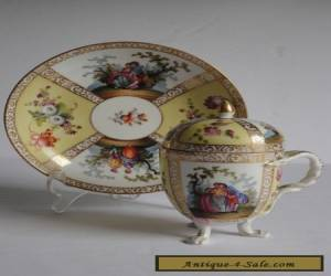 Helena Wolfsohn Dresden Porcelain CHOCOLATE Cup Lid and Saucer WATTEAU 19c AS IS for Sale