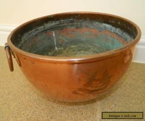 antique large French copper mixing  bowl arts and crafts for Sale