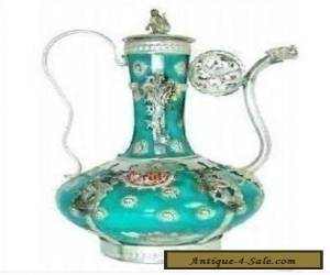 Rare Chinese Tibet silver porcelain carved teapot for Sale