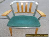 Shaw Walker Mid-Century Modern Wood & Aluminum Chair with Padded Seat I Ship