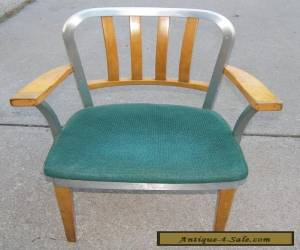 Shaw Walker Mid-Century Modern Wood & Aluminum Chair with Padded Seat I Ship for Sale