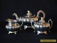 Oneida Community Melon 3 Pieces Silverplate Tea Set #0201