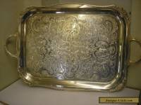 Vintage Alpha Plate Viners Of Sheffield Silver Plated Chased Tray Large Heavy
