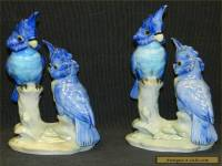 HTF Goldscheider A. Jacob Hand Painted Pair of Blue Parrots Birds Cockatoo