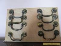 set of 8 antique brass swan neck handles S1685