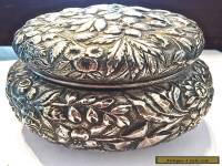 KIRK REPOUSSE ANTIQUE STERLING SILVER  POWDER BOX with PUFF