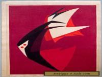Hodaka Yoshida EXTREMELY RARE 2nd Documented Print 1951 Japanese Woodblock