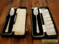 Two Matching 1960s Sterling Silver Christening Teaspoons in Presentation Cases