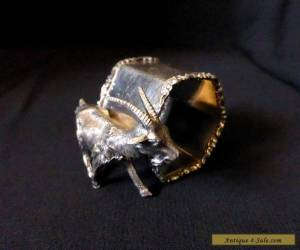 "MERIDEN Antique 2.4"" VICTORIAN Silver Plate Metal GOAT NAPKIN RING figurine for Sale"