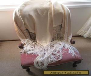 VINTAGE 50S  BEAUTIFUL CHRISTIAN DIOR OF LONDON DOUBLE CREAM SILK FRINGED SHAWL for Sale