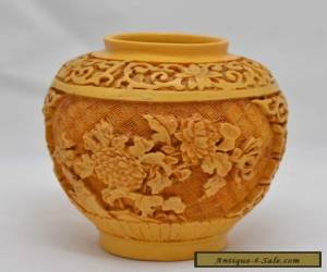 CHINESE IMPERIAL YELLOW CARVED CINNABAR LACQUER VASE / POT for Sale