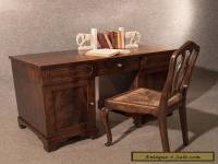 Antique Pedestal Desk Study Table Quality Flame Mahogany Victorian English c1850