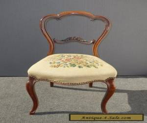 Vintage French Provincial Country Carved Wood Floral Tapestry ACCENT CHAIR  for Sale