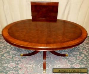 DREXEL BANDED MAHOGANY DINING TABLE Chippendale Center Pedestal Style VINTAGE for Sale
