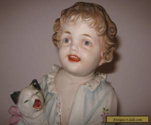 """VTG Antique Toddler & Cat Bisque Figurine 12"""" Piano Baby Doll German Heubach ?  for Sale"""