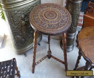Antique English Oak Carved COFFEE TEA TABLE ROUND w Bobbin Legs Finial JACOBEAN for Sale