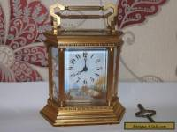 french Brass Carriage Clock Hand Painted porcelain panels - Sevres Style working