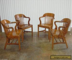 Vintage c. 1950s SIKES Solid Wood Courthouse Jury Bankers Chairs ~ Set of 4 for Sale