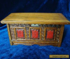 A VINTAGE NOVELTY BOX, MINIATURE CARVED 'OAK COFFER'. for Sale