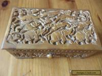 antique carved wooden box India design elephant / lion