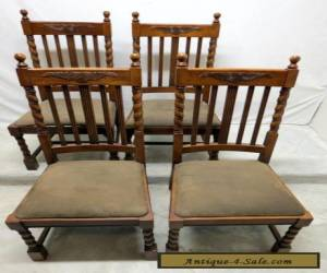 Vtg Antique Style Set 4 Oak Barley Twist Dining Room Kitchen Chairs Wing Carved for Sale