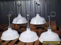 """Vtg HUBBELL 17"""" white porcelain industrial gas station barn light PRISTINE"""