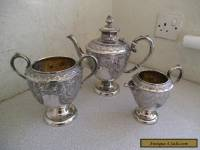 ATTRACTIVE  LARGE HEAVY ANTIQUE SILVER PLATED ORNATE 3 PCE TEA SET-