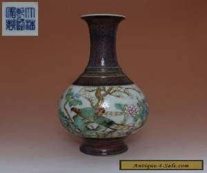 EXQUISITE CHINESE FAMILLE ROSE PORCELAIN VASE WITH QIAN LONG MARK (L654) for Sale