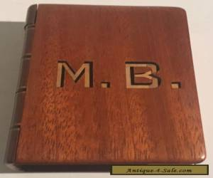 Antique Parquetry Inlay Mahogany Book Shaped Puzzle Box c1930's for Sale