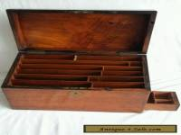 Victorian Edwardian Antique Wooden Stationery Box Secret Compartment Brass Motif