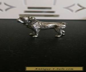 Charming Solid silver small statue pug dog hallmarked antique/vintage for Sale