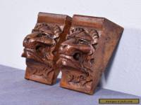 "6"" French Antique Renaissance Corbels Hand Carved Oak Wood Trim Lions"