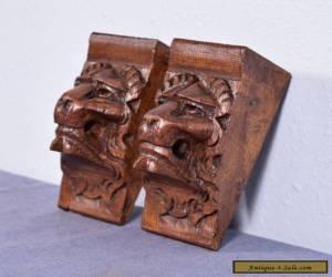 "6"" French Antique Renaissance Corbels Hand Carved Oak Wood Trim Lions for Sale"