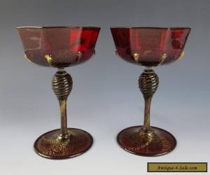 Pair Antique Venetian RUBY WINE GLASS Gold Aventurine Salviati Cocktail Italian for Sale