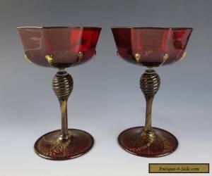 Pair Antique Venetian RUBY WINE GLASS Gold Aventurine Salviati Cocktail Italian for Sale