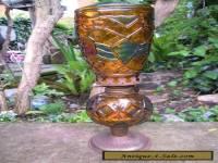 oil lamp vintage amber glass