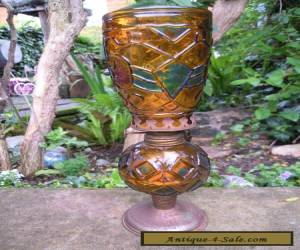 oil lamp vintage amber glass for Sale