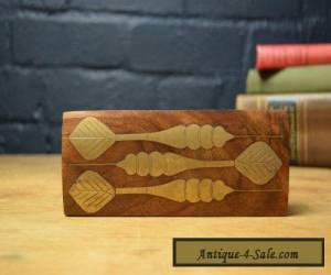 LOVELY INLAID BRASS HARDWOOD SECTIONED/FITTED WOODEN DARTS DART BOX for Sale