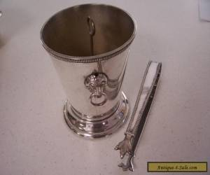 SILVER PLATE ICE BUCKET & TONGS. for Sale