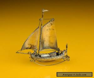Early Dutch Sterling Silver 'Rocking' Sailing Boat & men playing music / singing for Sale