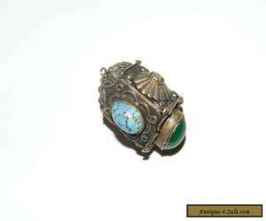LARGE ANTIQUE EASTERN ORNATE SILVER PENDANT with SECRET POISON COMPARTMENT for Sale