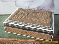 VINTAGE CARVED WOODEN EASTERN JEWELLERY BOX